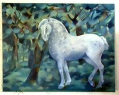 Portrait of my appaloosa horse, Ro, Oil on board.