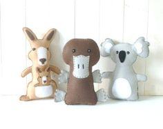 Australian Animal Softie PATTERNS // Sew by Hand Felt Plushies // Stuffed Kangaroo, Platypus, Koala Bear