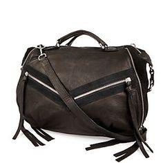 Black leather tassel bowler bag