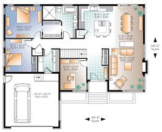 Discover the plan 3280 - Sonata from the Drummond House Plans house collection. Affordable Ranch bungalow, home office (or bed # garage, pantry, fireplace, laundry room. Total living area of 1676 sqft. Contemporary Style Homes, Contemporary House Plans, Modern House Plans, Small House Plans, Bungalow House Plans, House Floor Plans, Drummond House Plans, Planer, Home Office