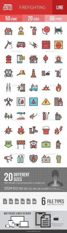 Firefighting Filled Line Icons  — PNG Image #cone icon #hydrant icon • Download ➝ https://graphicriver.net/item/firefighting-filled-line-icons/18458685?ref=pxcr