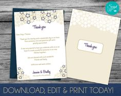 Thank You Card Template | DiY | INSTANT DOWNLOAD | EDITABLE Text | Blooming Flowers | Gold/Navy | Print at Home |  5x7 inches by ScriptAndLily on Etsy