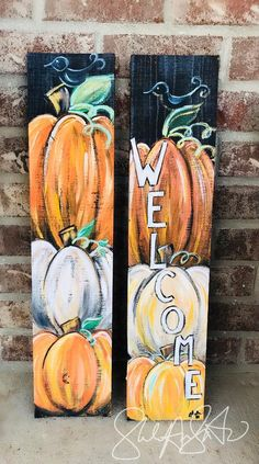 Mini Fall Wecome Sign Fall decor pumpkin welcome sign pumpkin decor happy fall sign front door welcome sign autumn decor autumn sign Wood Pallet Art Painting Autumn Painting, Autumn Art, Fall Paintings, Wood Paintings, Fete Halloween, Halloween Crafts, Diy Fall Crafts, Welcome Fall, Fall Projects