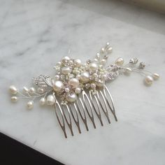 Pearl Bridal Hair Comb Bridal hairpiece by adrianasparksacc, $37.00
