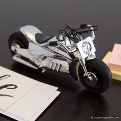 / Easy Rider - Shiny chrome-plated chopper with magnet under the saddle and five black paper clips and friction motor. Easy Rider, Black Paper, Magnets, Plating, Cufflinks, Chrome, Motorcycle, Chopper, Accessories