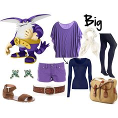 Big the Cat by starwaveimpulse on Polyvore featuring Calypso St. Barth, American Vintage, MeMoi, Ralph Lauren, FOSSIL, Red Herring, Brady Bags, big the cat, sonic the hedgehog. video games and sonic