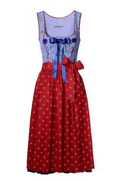 Edles Damen-Dirndl von Lodenfrey in Blau-Rot. Das Dirndl ist aus reiner Baumwolle gefertigt. Das karierte Oberteil ist mit einer Ketten-Schnürung, floralem Print und Schleifen-Detail verziert und besitzt einen seitlichen Reißverschluss. Der in Falten gelegte Rock in Blau-Weiß ist mit einem Pünktchen-Dessin versehen. Die gemusterte Schürze in Rot ist ebenfalls aus Baumwolle gefertigt.