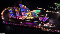 The sails of the iconic Opera House were an eyeful of bright colours...