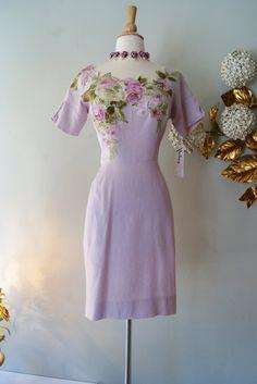 Vintage 1950's Dress // 1950s Lavender Garden by xtabayvintage, $198.00