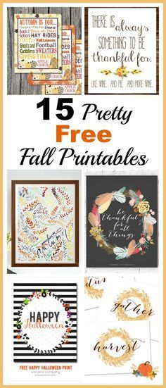 15 Pretty Free Fall Printables- An easy and inexpensive way to decorate your home for fall is with these free fall printables! Thanksgiving printables and Halloween printables included! | Fall Home Decorating Ideas