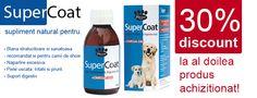 Super Coat - este un excelent supliment nutritional pentru caini care contribuie la imbunatatirea calitatii blanii si a digestiei la caini.  Primesti un discount de 30% la al doile produs!