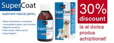 Super Coat - este un excelent supliment nutritional pentru caini care contribuie la imbunatatirea calitatii blanii si a digestiei la caini.  Primesti un discount de 30% la al doile produs! Drinks, Bottle, Shop, Drinking, Beverages, Flask, Drink, Beverage, Store