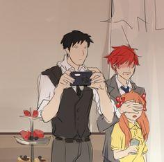 Nozaki, Sakura and Mikorin in the Hori and Kashima's wedding