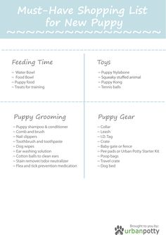 Printable Checklist by Urban Potty : Must-Have Shopping List for New Puppy