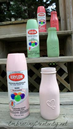Puffy paint bottles then spray paint. Good idea for place setting marker that guests can take home.