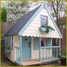 Wooden playhouse things cody will do pinterest for Wooden wendy house ideas