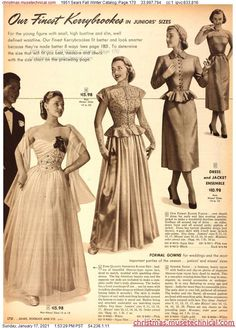Fifties Fashion, Vintage Fashion, Christmas Catalogs, Bridal Gowns, Dress Outfits, Vintage Outfits, Fall Winter, Feminine, Fantasy