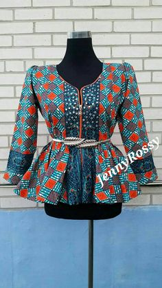 Jenny Rossy African print peplum top African blouse with