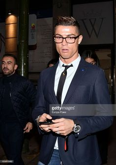 Real Madrid football player Cristiano Ronaldo is seen leaving a restaurant on December 10, 2016 in Madrid, Spain.