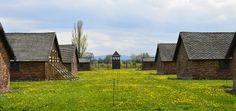 Brick barracks of the BI sector of the Auschwitz II-Birkenau camp.