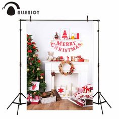 Allenjoy Fireplace Christmas tree celebration gift wreath toy bear backgrounds for photo studio christmas decorations for home