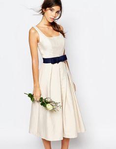 Chi Chi London   Chi Chi London Round Neck Midi Prom Dress with Box Pleats at ASOS