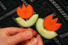 aperitivo de zanahoria y pepino para dipear