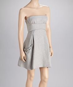 Super cute strapless dress on Zulily.com for $74.99. Gray Crinkle Strapless Dress by BCBGMAXAZRIA