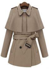 Beige Removable Cape Long Sleeve Drawstring Coat $81.94