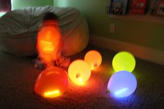 Glow in the dark fun... glow sticks in balloons, glow sticks in the bathtub, glow play-doh glow paint... turn off the lights and have fun in the dark!