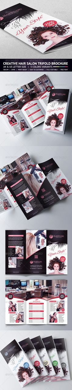 """Hair Salon Trifold Brochure Creative Hair Salon Trifold Brochure. Features Sizes – Letter (8,5×11"""")+bleed – A4(8,25×11,7)+bleed 5 Color Variants Fully editable Photoshop Easy to customize CMYK High Quality 300 DPI Highly Organised Layers Print Ready"""