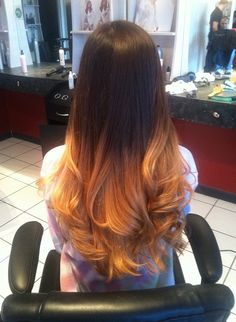 This, in my opinion, is ombre highlights GONE WRONG. The placement is too high and the color is orange and brassy,