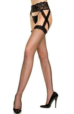 Plus Size Black Fishnet One Piece Garter w Criss Cross [7910Q] - $8.99 : Mystic Crypt, the most unique, hard to find items at ghoulishly great prices!