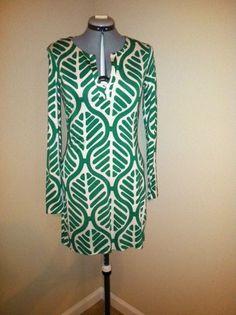 Diane Von Furstenberg green/white long sleeve tunic dress-love this.