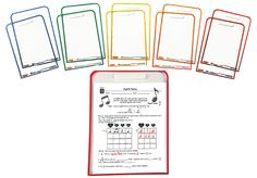 WIPE CLEAN WORKSHEET COVERS-Save paper, prep time, and money, and increase kids' engagement! Slide your favorite worksheets into the color-coded clear folders, so kids can write on the front and back with dry erase markers or crayons.