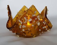Amber With Dichroic Glass Candleholder