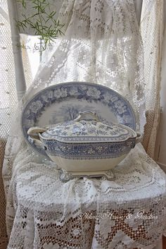 Blue & White Transferware Tureen