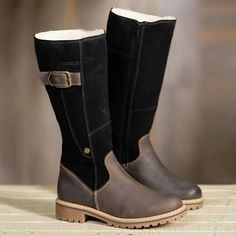 Load image into Gallery viewer, Warm Ladies High Snow Shoes Leather Martin Boots Warm Snow Boots, Snow Boots Women, Winter Boots, Outfit Winter, High Boots, Black Boots, Black Toe, High Heels, Shoe Vamp