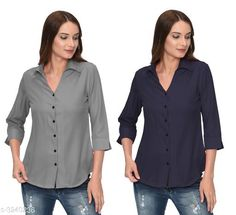 Shirts Glamorous Contemporary Women's Polyester Solid Women's Shirts(Pack Of 2) Fabric: Polyester   Sleeves: 3/4 Sleeves Are Included Size: S - 36 in M - 38 in L - 40 in XL - 42 in Length: Up To 28 in Type: Stitched Description: It Has 2 Pieces Of Women's Shirts Pattern: Solid Country of Origin: India Sizes Available: S, M, L, XL   Catalog Rating: ★4 (285)  Catalog Name: Glamorous Contemporary Women's Polyester Solid Women's Shirts Combo CatalogID_446772 C79-SC1022 Code: 405-3240236-1131