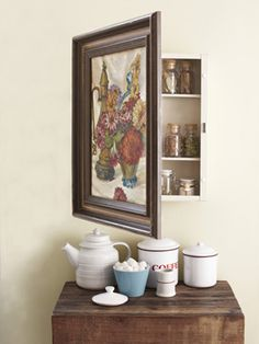 How to Make a Vintage Painting into a Secret Cabinet - how interesting would it be to have secret storage cubbies to hide some of the clutter in the craft room, and display cool art too! Old Medicine Cabinets, Hidden Cabinet, Art Cabinet, Cabinet Storage, Cabinet Decor, Secret Hiding Places, Diy Home Decor For Apartments, Cosy Home, Diy Casa