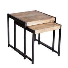 Display fresh flowers or rest drinks on these up-cycled wood nesting tables. Showcasing iron edges, they add rustic appeal to your living room or study. Industrial Interior Design, Industrial Style, Small Tables, End Tables, Table Furniture, Living Room Furniture, Wood Nesting Tables, Sofa Styling, Luxury Homes Interior