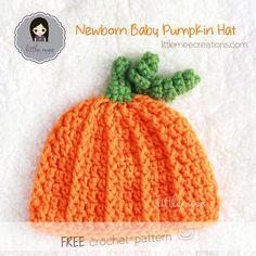 baby pumpkin hat free crochet pattern by LittleMeeCreations