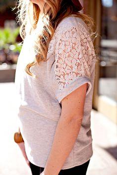 Lace Yoke Sweatshirt