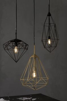 geometric industrial pendant lights, made from stainless steel | Diamonds, designed by Sylvie Meuffels for JSPR