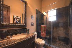 Traditional 3/4 Bathroom with Flat panel cabinets, MS International Granite - Desert Dream, Raised panel, Flush, High ceiling