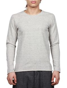 ATTACHMENT SS16 - Men's Pullover With Unfinished Edges - Light Grey - serie     NOIRE
