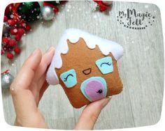 Adornos navideños fieltro jengibre casa árbol de Navidad Navidad decoración de pan de jengibre fieltro decoración de año nuevo alfajor
