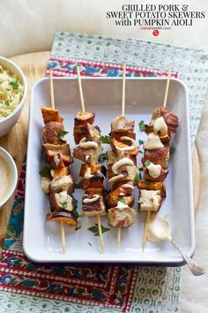 With some of our favorite holidays on the horizon it's time to think about all the delicious foods we will be cooking! These Grilled Pork & Sweet Potato Skewers with Pumpkin Aioli are a wonderful addition to your holiday menu. Pork Tenderloin Recipes, Pork Roast, Pork Recipes, Family Recipes, Paprika Pork, Aioli Recipe, Roasted Pork Tenderloins, Grilled Pork, Skewers