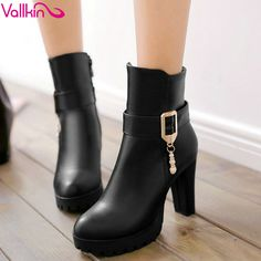 Aliexpress.com : Buy VALLKIN Beading Beige Winter Zipper Autumn 2016 Women Shoes Square High Heel Ankle Boots Women Motorcycle Snow Boots Size 34 43 from Reliable boot western suppliers on VALLLKIN WOMEN SHOE Store