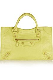 Yellow textured-leather (Lamb) Two-way zip fastening at top Comes with dust bag Weighs approximately Balenciaga Sandals, Balenciaga Bracelet, Balenciaga Top, Balenciaga City Bag, Everyday Fashion, Designer Shoes, Studs, Shoulder Strap, Christian Louboutin